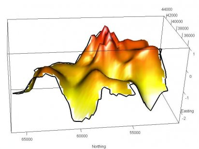 Surface plot showing relative risk of liver disease in NE England